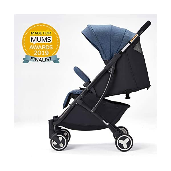 Allis Lightweight Plume Stroller Baby Buggy - Denim Allis Baby Made according to British Standard EN1888 and Fire Safety Regulations 1988. Lockable 360 swivel wheels, removable and suspension, Peek A Boo window/ Recline Seat/ Lie-flat position From 6M (Upto 15Kg Approx). Lightweight 6.7Kg only, Easy to fold with one hand only 1