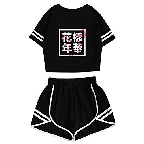 (Yovvin Unisex BTS T-Shirt & Hosen Set, KPOP Bangtan Jungen Hip Pop Pullover Rundhals Kurzarm Tops Sportbekleidung Freizeitkleidung für Liebespaar Männer Damen und Jugendliche (花樣年華, S))