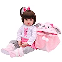 "‏‪Lixada Reborn Real Life Baby Doll Girl 19"" Babies Art Doll With Pacifier Bottle Great for Ages 3+ Birthday Gift Toy Pink Vest‬‏"