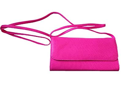 Retro 80s Neon Pink Clutch bag With Two Straps