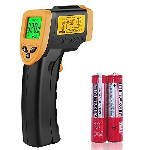 Infrarot Thermometer, digitales Laser thermometer handheld Temperaturpistole -50 bis 380°C(-58 bis 716°F) Berührungslose Messgerät für Kochen, Industrie, Wasser usw LCD Beleuchtung, Schwarz/Gelb