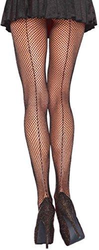 Leg Avenue plus size Damen Netzstrumpfhose mit rückwärtiger Naht schwarz transparent Einheitsgröße ca. 42 bis 44