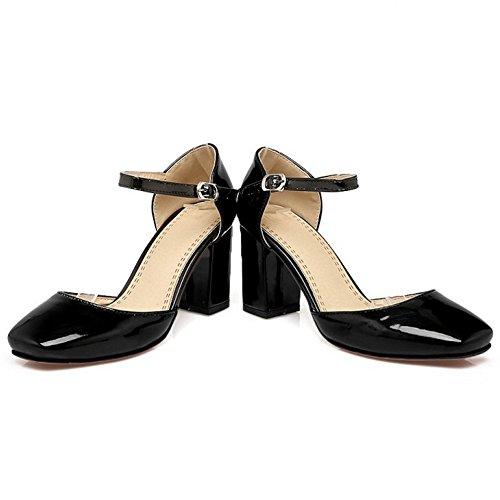 COOLCEPT Femmes Mode Cheville Sandales Bout Ferme Bloc Chaussures Noir