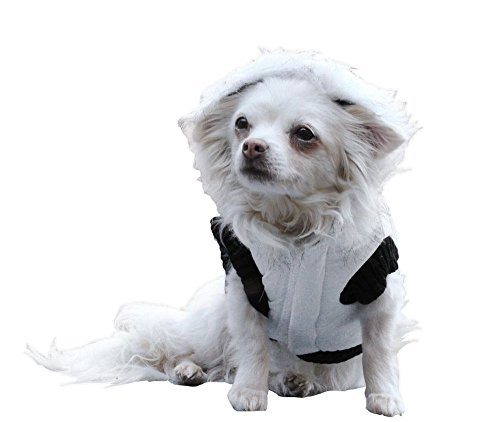 Ikumaal Dicker Steppmantel in weiss/schwarz mit Fell-Kaputze - Winterjacke Hund Bekleidung für Hunde Hundebekleidung und Hundemantel günstig M58 Gr. L