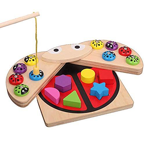 pielzeug Spaß Angeln Holz Marienkäfer Angeln Angeln Musik magnetische frühe Kindheit Kinder 1-3 Jahre alt Set magnetisches Puzzle ()