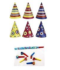 Idea Regalo - Irpot - Kit 30 Cappellini di Carta Colorati + 30 TROMBETTE di Carta Party
