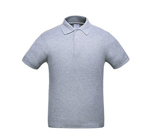 Bmeigo Herren Baumwolle Athletic Casual Poloshirt Colored Blank Kurzarm Grey