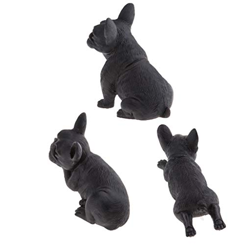 3 Stück Harz Haustier Figur Modell Französische Bulldogge Skulptur Indoor / Outdoor Landschaft Ornament Für , Garten, Auto -