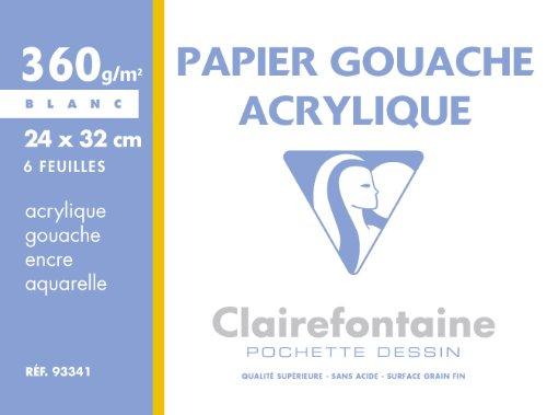 ClaireFontaine - Réf 93341C - Une Pochette de Papier GOUACHE et ACRYLIQUE 24x32 cm 360 g 6 Feuilles Blanc vendu à l'Unité