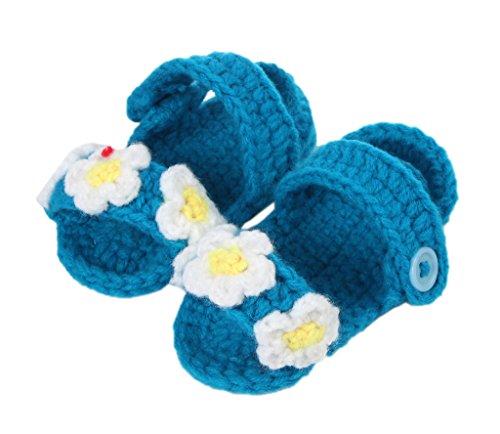 Bigood(TM) 1 Paar Strick Schuh Baby Unisex Strickschuh One Size süße Muster 11cm lilienweiss Blume Dunkelblau X