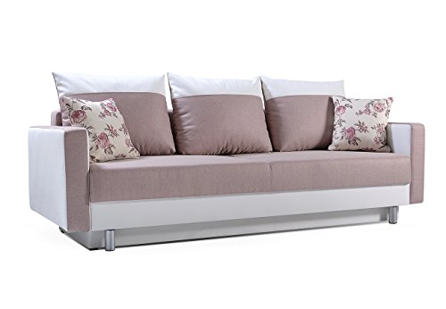 Schlafsofa Kippsofa Sofa mit Schlaffunktion Klappsofa Bettfunktion mit Bettkasten Couchgarnitur Couch Sofagarnitur ZOE (Rosa)