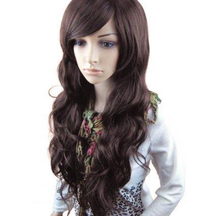 rücke lockige Frauen Lang Haar Wig Dunkelbraun für Karneval oder Cosplay Party, Fasching Kostüm Ombre Haarteil FP712 ()