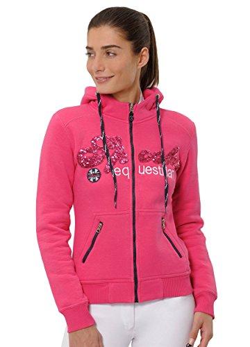 SPOOKS Damen Sweatjacke, Kapuzen-Jacke Mädchen Kinder Frauen, Zipper Hoodie - Sommerjacke bequem & anschmiegsam, Roxy Sequin Jacket - Pink XL