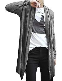 sourcingmap®Homme Col Châle Poches Ouvertes Avant Haut-Bas Ourlet Confort Long Cardigan