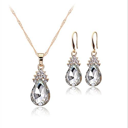 scrox Charming Und Mode Halskette Ohrringe Diamant Wassertropfen Kristall elegant Damen-Schmuckset Set Kristall Anhänger Halskette + Ohrringe, Platin, weiß, 1