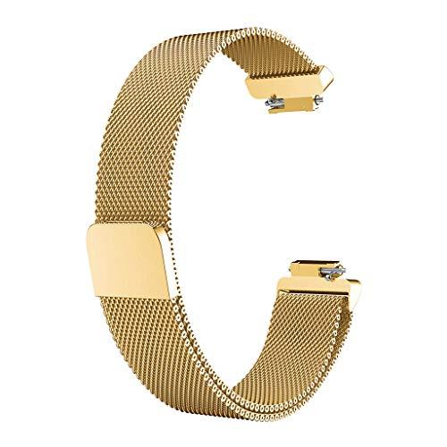 XNBZW Milanese Edelstahl Uhrenarmband-Armband für Fitbit Inspire/Inspire(Gold) (Uhrenarmband Olive Leder)
