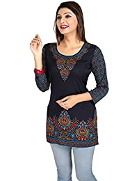 Color Petal Printed Short Kurti/Tunic/Top For Women And Girls (Blue, XX-Large)