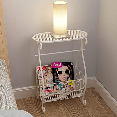 Ende Beistelltisch Nachttisch (Corner Shelf Iron Art Doppelregal Beistelltisch, Ständer Metall Ecktisch Nachttisch mit Aufbewahrungskorb für Badezimmer Wohnzimmer Schlafzimmer, Badezimmer Regal Ablagetisch (Farbe : Weiß))