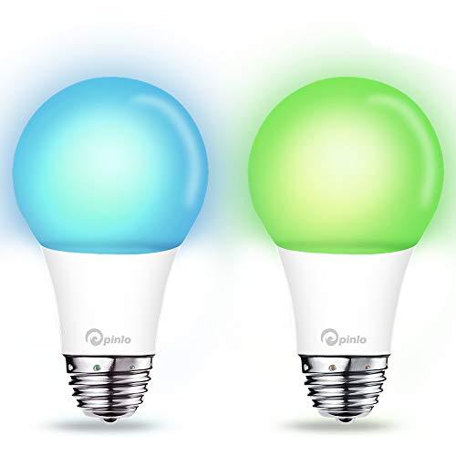 Smart Lampe WiFi LED Birne 10W Dimmbar Leuchtmittel 1050LM RGBW Mehrfarbige Nachtlicht E27 Kompatibel mit Amazon Alexa Google Home IFTTT, App und Sprachsteuerung - 2 St
