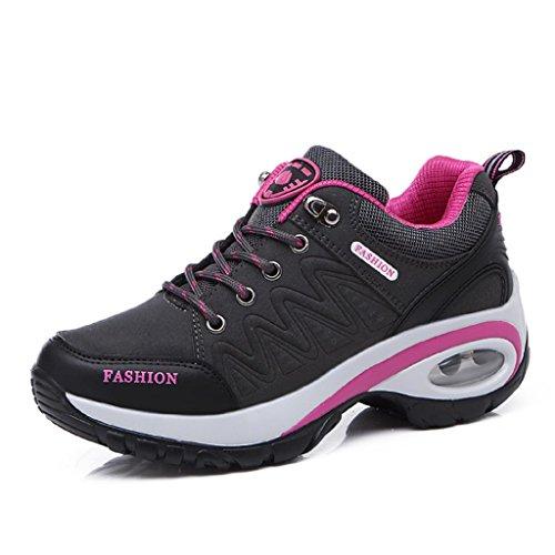 T-Gold Air Zapatillas Deportivas de Mujer Aire Libre Correr Running Gimnasio Zapatos Talón 6 cm(EU 39,Gris)