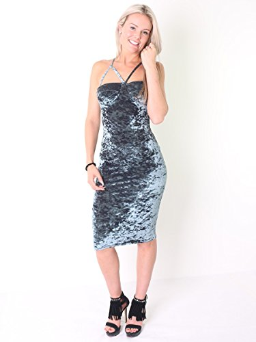 Crushed Damen Velour Padded Büste Midi-Kleid EUR Größe 36-42 Grau