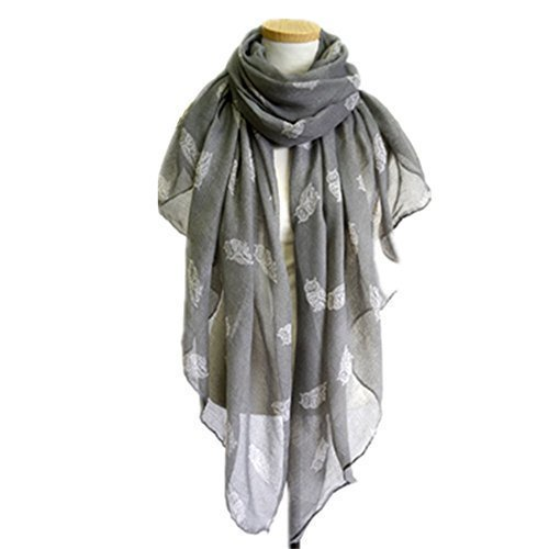 - 41TEiPbAhQL - PromiseTrue lady's Fashion Owl Paris Yarn Scarf, Gray