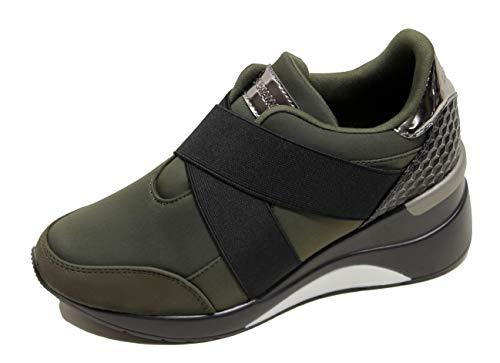 Maria Mare - Sneakers Piramid para Mujeres, Talla 35, Color Verde