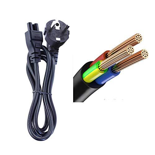 DTK Cable de alimentación portátil Clover 1.2M para Laptop para HP DELL ASUS Acer Sony Lenovo Samsung con alimentación CEE7 3 vías a C5 Hembra