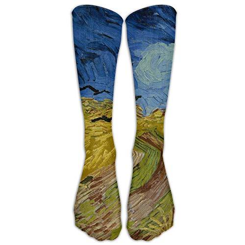 UFHRREEUR Style Unisex Socks Casual Knee High Stockings Van Gogh Wheatfield with Crows Cotton Socks One Size