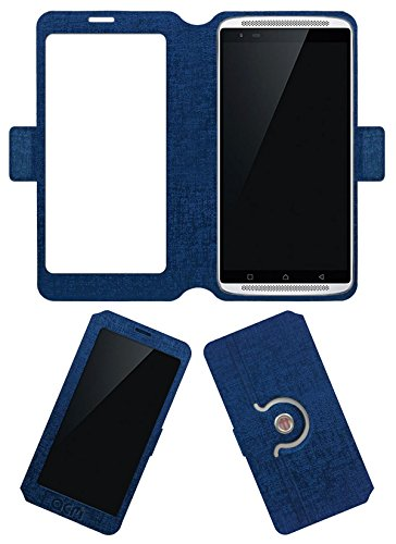 Acm SVIEW Window Designer Rotating Flip Flap Case for Lenovo Vibe X3 Mobile Smart View Cover Stand Blue