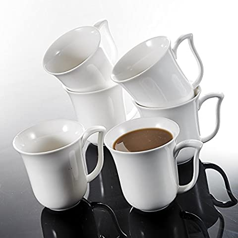 Malacasa, Series Amparo, 6-Piece 11.5 OZ Ivory White Porcelain Cups 4.75