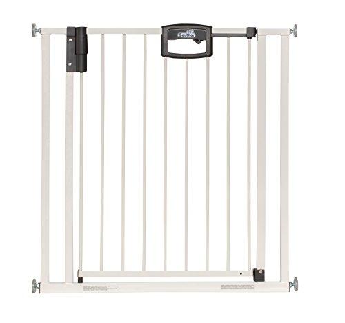 Geuther - Türschutzgitter Easylock 4792+, für Kinder, Hunde und Katzen, Befestigung ohne Bohren,zum klemmen, umbaubar in Treppenschutzgitter, Metall, 80,5 - 88,5 cm, weiß/silber