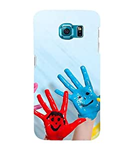 Fabcase little boy hands painted in colours smiley emotions Designer Back Case Cover for Samsung Galaxy S6 G920I :: Samsung Galaxy S6 G9200 G9208 G9208/Ss G9209 G920A G920F G920Fd G920S G920T