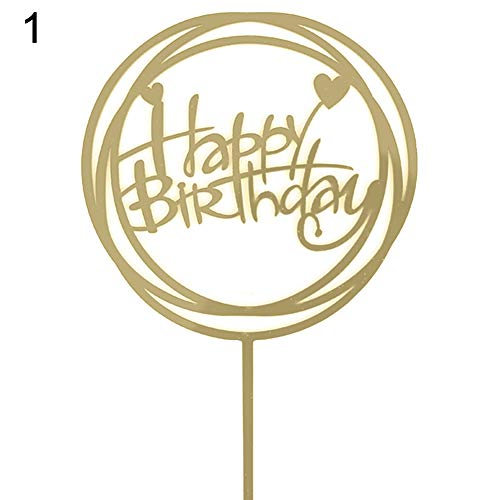 Walkretynbe happy birthday love cake topper acrylic letter top flag wedding party decoration 1 golden
