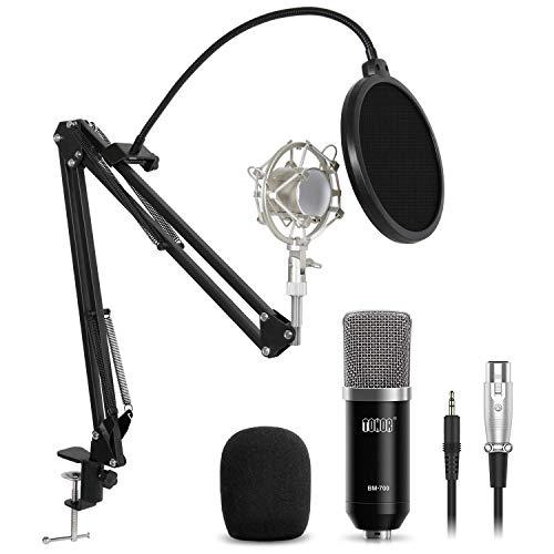 TONOR XLR zu 3.5 mm Kondensator-Mikrofon Kit Schall Podcast Studio Rundfunk & Aufnahme Microphone für Computer mit Popschutz und Verstellbarem Mikrofonhalter Mikrofonarm Mikrofonständer (Xlr Kondensator-mikrofon)