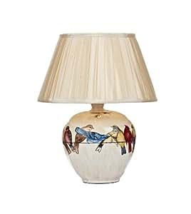 Lampe à poser Aviary céramique décor oiseaux, abat-jour plissé en fausse soie crème