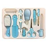 Fliyeong Trousse de soins pour bébé, chargeur, aspirateur nasal, coupe-ongles, kit de santé et de toilettage pour bébé pour nouveau-né, cadeau pour bébé, paquet de 10 pièces, bleu