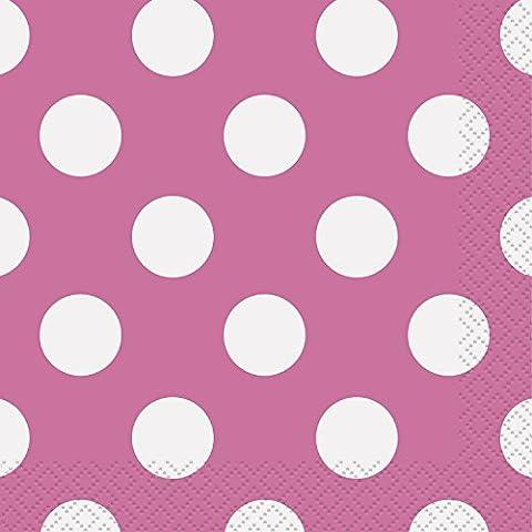 Unique Party - 30430 - Paquet de 16 Serviettes - Papier à Pois - 13 cm - Rose Vif