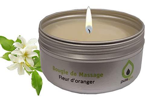 Massagekerze, Orangenblüte, 100% pflanzliches Wachs, 80g -
