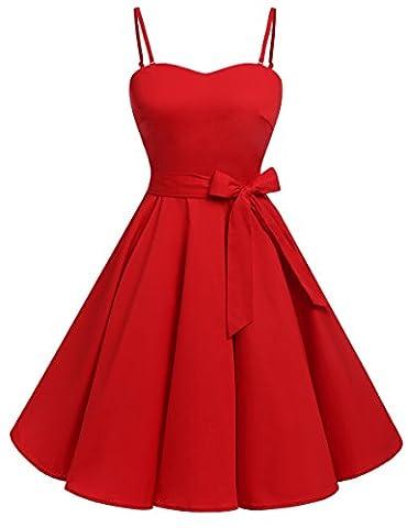 Bbonlinedress modèle 3 Vintage rétro 1950's Audrey Hepburn robe de soirée cocktail année 50 Rockabilly avec bretelles spaghetti,Red M