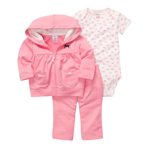CARTER'S 3 teilig Jacke Body Hose Baby Mädchen Outfit Kleidung girl 3 Teile Kapuze (56/62, rosa)