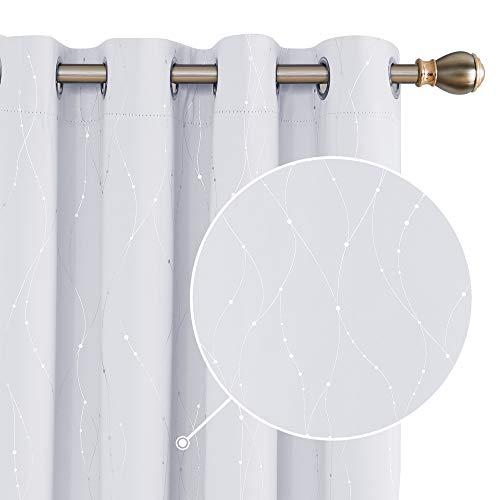 Deconovo gardine Wohnzimmer gardienen Fenster modern Grau Weiß 214x132 cm 2er Set