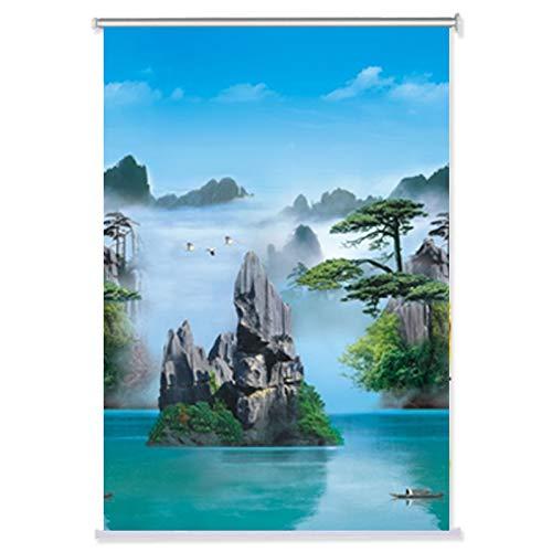 Horizontale Jalousien, Verdunkelungsrollo, breite UV-Schutz, Plissee Jalousien, Filtern von Bambus, Bambus, blau, 58x182cm(23x72inch)