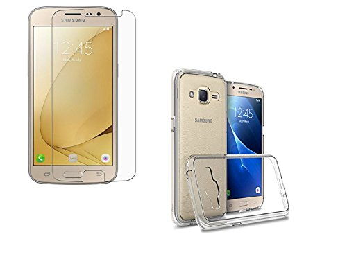 Samsung Galaxy J2 (J210) Model 2016 Year & J2 Pro Soft Silicone TPU Transparent Back Cover With mobile screen glass /Screen protector glass (Buy KTC Plus)