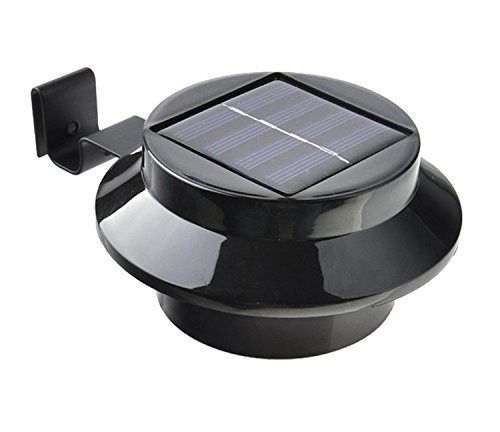2-licht Im Freien Post (JMENG Outdoor Solar Gutter Lichter 3 LED Solar Zaunpfosten Lichter Wandhalterung Dekorative Deck Beleuchtung mit Auto On/Off Dämmerung bis Morgendämmerung. Solarlampe (Farbe : Schwarz))