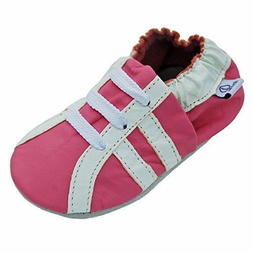 Lappa.de , Chaussons pour bébé (fille) Multicolore Sport blanc-rose (30-31) (Leder Bebe)