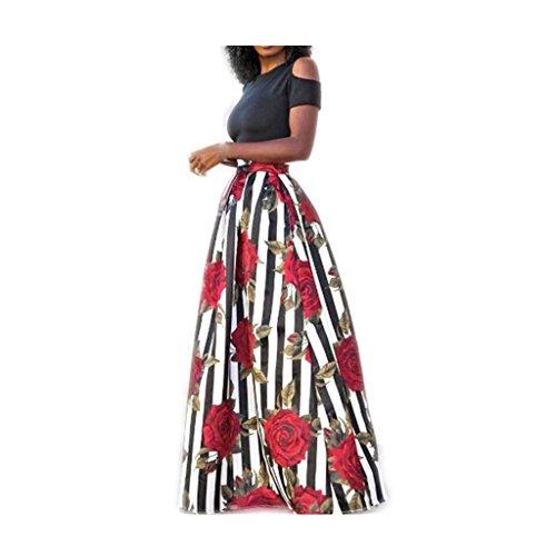 Koly_Party Dress donna stretta con stampa floreale grande swing gonna due pezzi da cocktail (S)