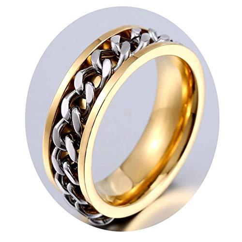 Blisfille Gold Ring Männer Edelstahlring Für Herren Kettenblatt Herren Gold Gr. 61 (19.4)