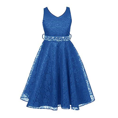 Free Fisher Mädchen Abendkleid Spitzenkleid, Champagner, Gr.122/128( Herstellergröße: 6)