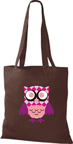 Stoffbeutel ShirtInStyle Owl Retro mit Eule Bunte niedliche diverse Jute streifen Punkte braun Karos Farbe Tragetasche r5UvxPrw